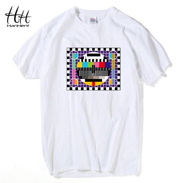 HanHent TV Test card Fashion T-shirt The Big Bang Theory Short Sleeve Cotton Tshirts Summer Style Male O-neck T shirts Signaling