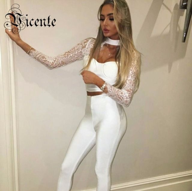 Vicente HOT 2018 New Chic Stunning Lace Embellished Two Pieces Celebrity Style Wholesale Women Bandage Set HL2421