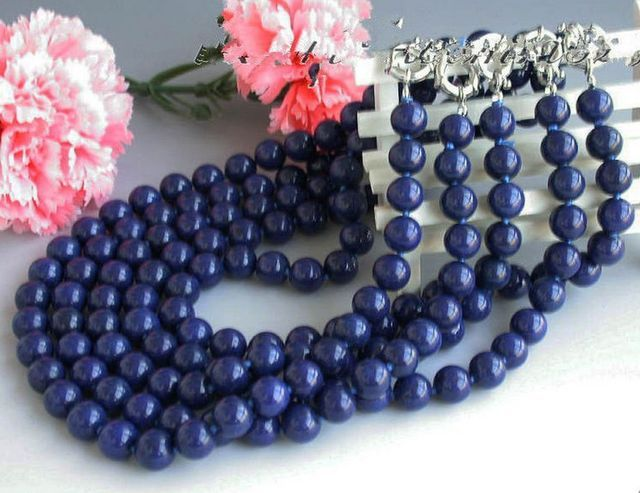 10X10  jewerly free shipping  NEW 5pcs 10mm Blue Lapis lazuli Round Beads Necklace 18 '' AAA