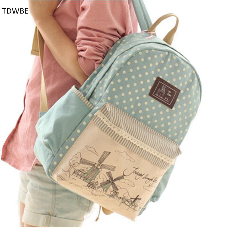 New 2015 casual canvas backpack women fashion school bags for girls fresh printing backpack shoulder bags mochila