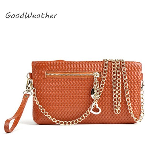 Promotion small brown ladies chain bag soft leather bag clutch female purse with metal strap 8color bolsa saco carteira feminina
