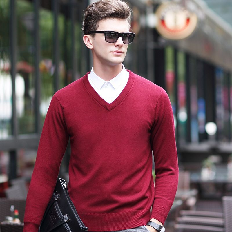 Autumn and Winter men pullover business casual sweater men brand Simple style knitted V neck long sleeve sweaters men jumpers