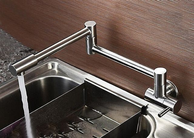 Free shipping Lead-Free Articulating Kitchen Faucet SUS 304 Stainless Steel Pot Filler Double Joint Wall Mount Brushed Finish 05