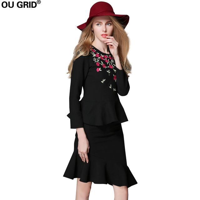 Women Office Work Dress Autumn Lady Black Embroidery Suits Blouse Tops+Ruffles Hem Skirts 2 Piece skirt Set Plus Size Clothing