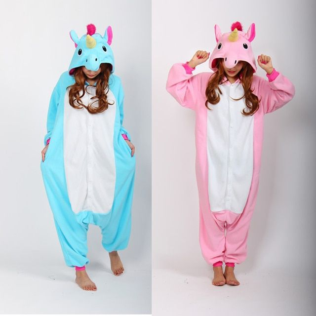 2016 Blue And Pink Unicorn Onesies Pijama Winter Sleepwear Pegasus Animal Pajamas