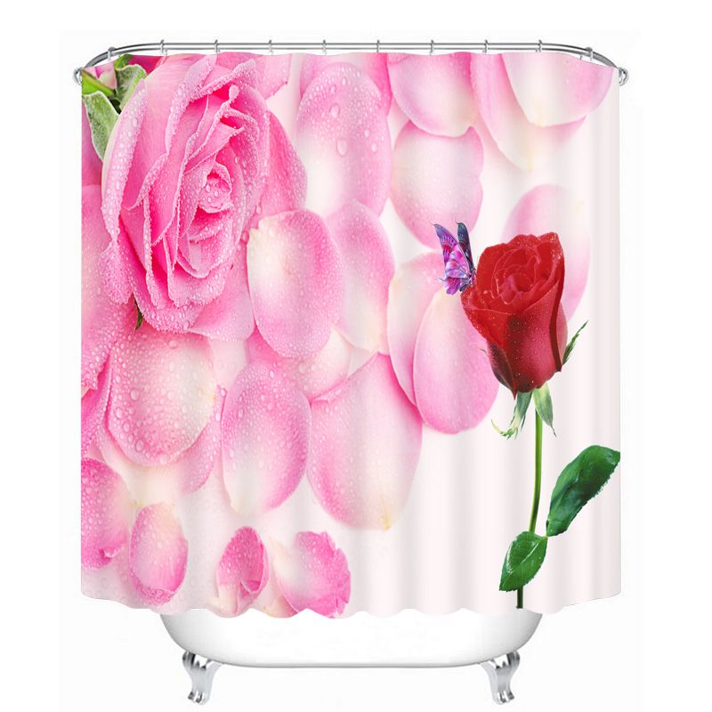 Bathroom Products Printed Polyester Bath Curtain Shower Curtain red and pink rose
