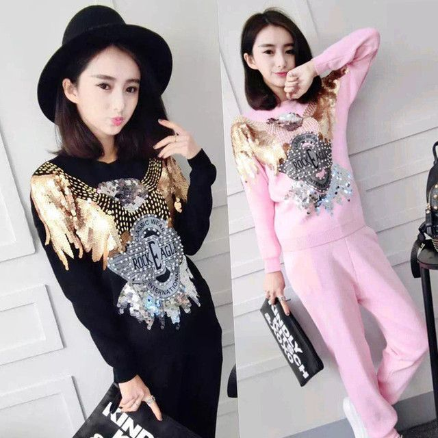 2017 Crop Top And Skirt Set Fashion, Cultivate One's Morality Sequins More Knitting Sweater Suits Two-piece Women's Leisure