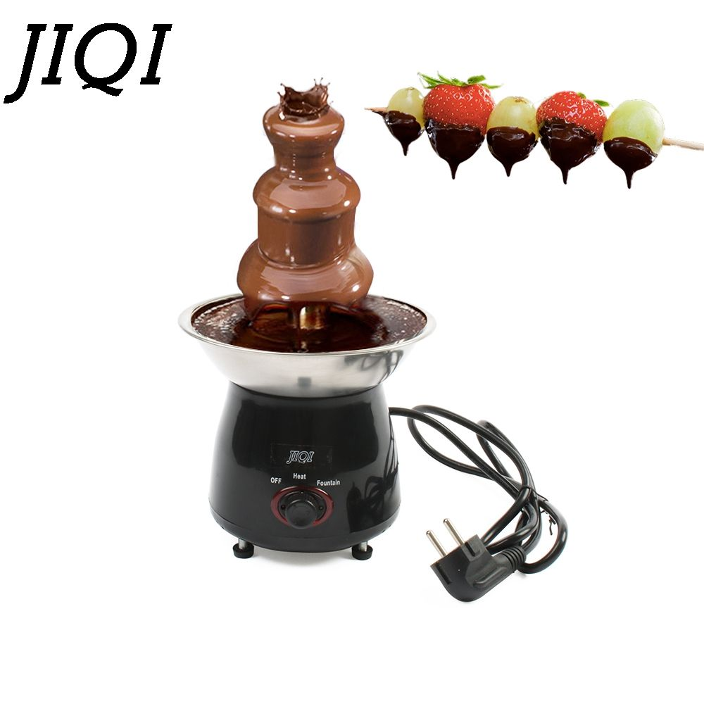 JIQI DIY 3 tiers Chocolate Fountains Mini Stainless steel Chocolate Melt Heating Fondue Waterfall Machine Wedding Birthday Party