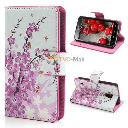 cover for LG P715 case Pink Plum Magnetic Leather Wallet Cover Case For Flip LG P715 Optimus L7 II Dual Duel phone cases bagS