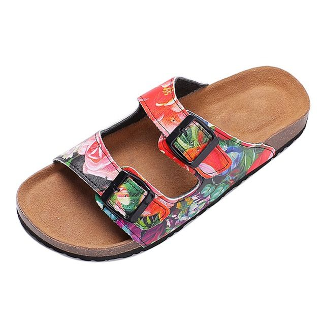 2016 New Fashion Summer Beach Shoes Double Buckle Printed Woman Cork Sandals Mujer Casual Slippers Free Shipping