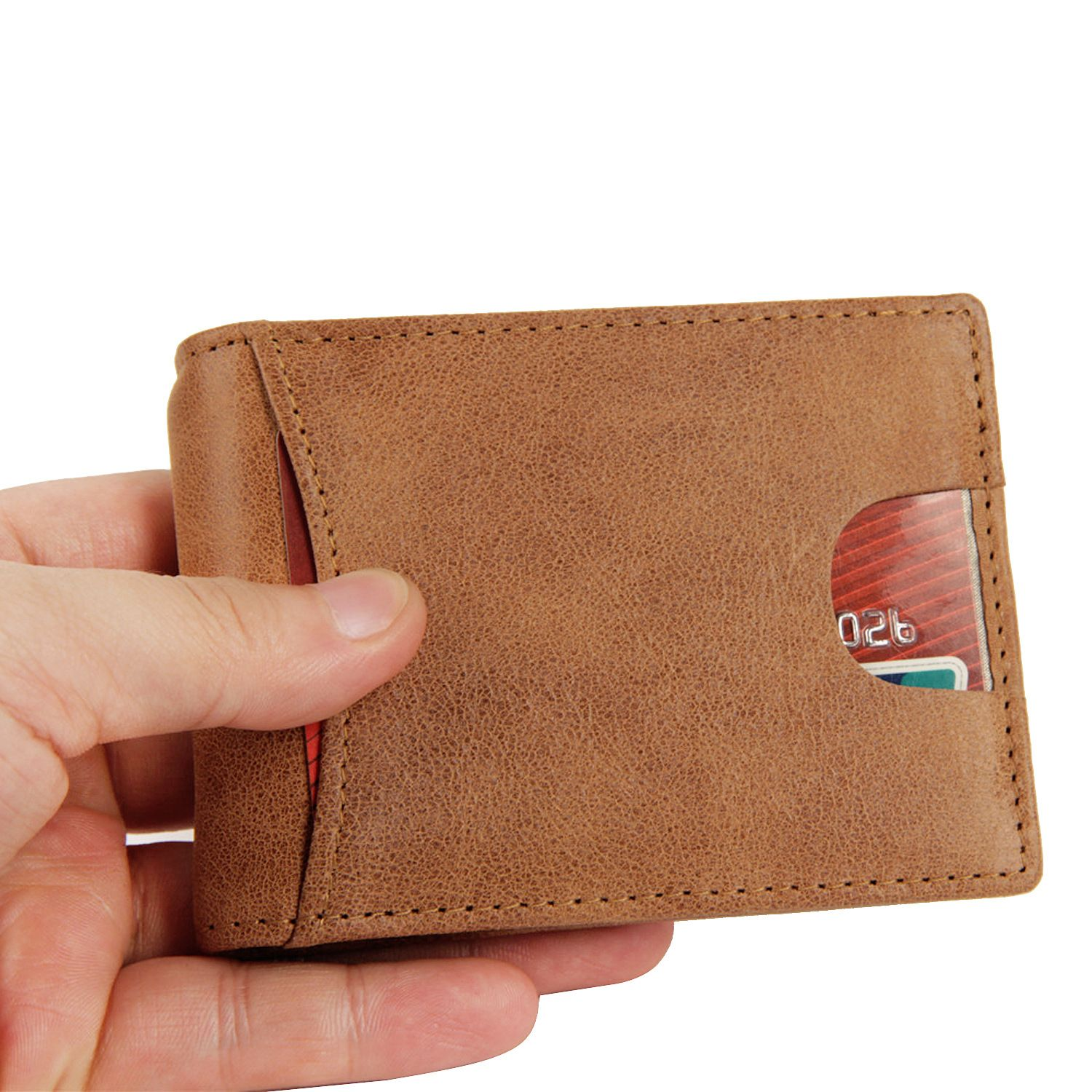 Genuine cow Leather card bag ID Holders leather wallet retro leisure mens womens short cowhide wallet US gold folder card pack