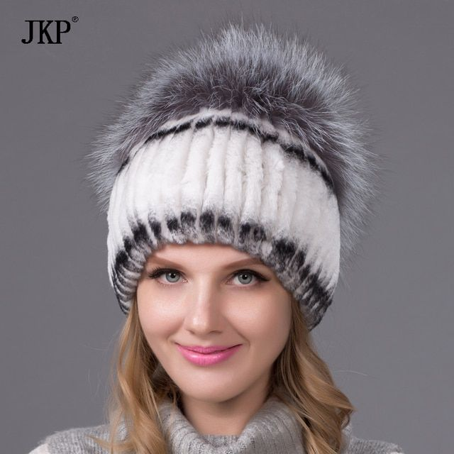 Winter women rex rabbit fur hat with whole fox fur top fashion knit fur hats elasitc good quality women beanies