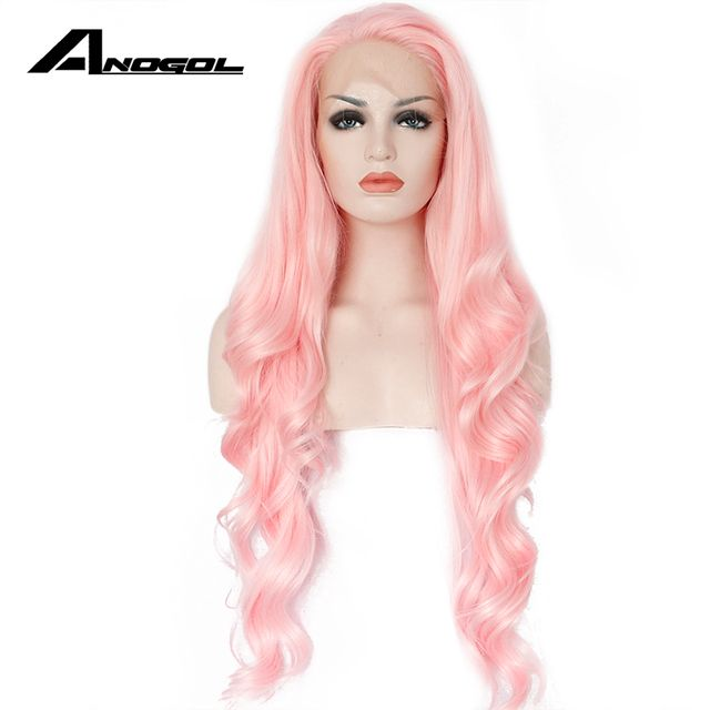 Anogol Glueless High Temperature Fiber Hair Natural Body Wave Long Pink Synthetic Lace Front Wig for White Women Drag Queen