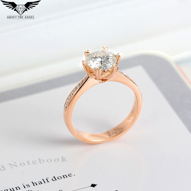 Diamond Ring/Moissanite Ring/Diamond Solitaire Ring/Engagement Ring 14K Rose Gold 1.0ct Round