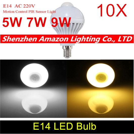 10pcs PIR Motion Sensor Lamp Led E14 Bulb 5W 7W 9W Auto Smart Led PIR Infrared Body Lamp Motion Sensor Lights Bulb for Stair