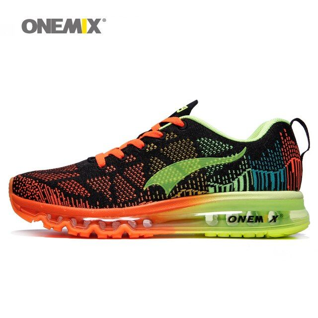 Onemix men's sport running shoes music rhythm men's sneakers breathable mesh outdoor athletic shoe light male shoe size EU 39-46