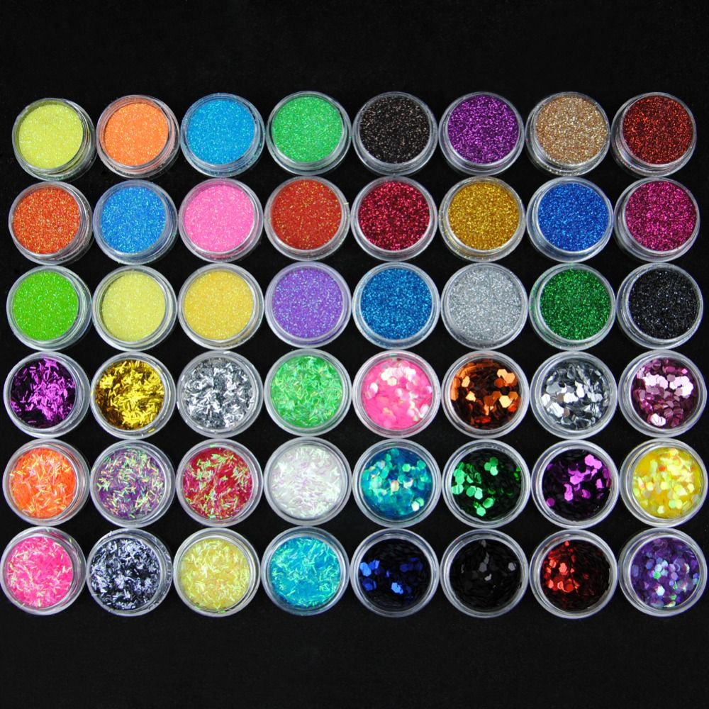 48 Bottle/Set Nail Glitter For Nail Acrylic Powder Dust 3D Tip Rhinestone Manicure Tools Nail Art Decoration Pigments Polish