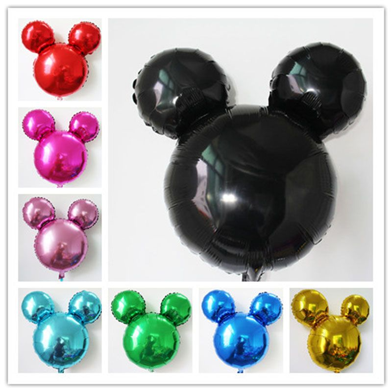10pcs/lot mix pure color Mickey balloon cartoon minnie head shape inflatable helium ballon for birthday party supplyMK021