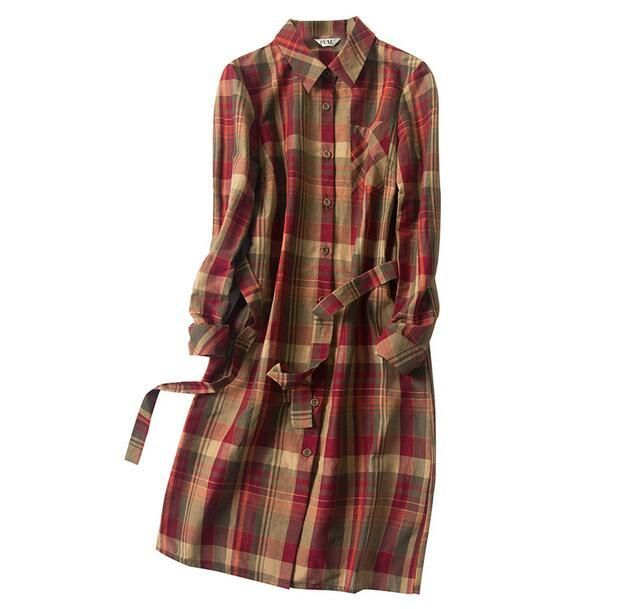 new arrival  100% silk women dress pure Silk heavy silk Cotton Plaid Shirt Dress Vintage British lengthened -b181