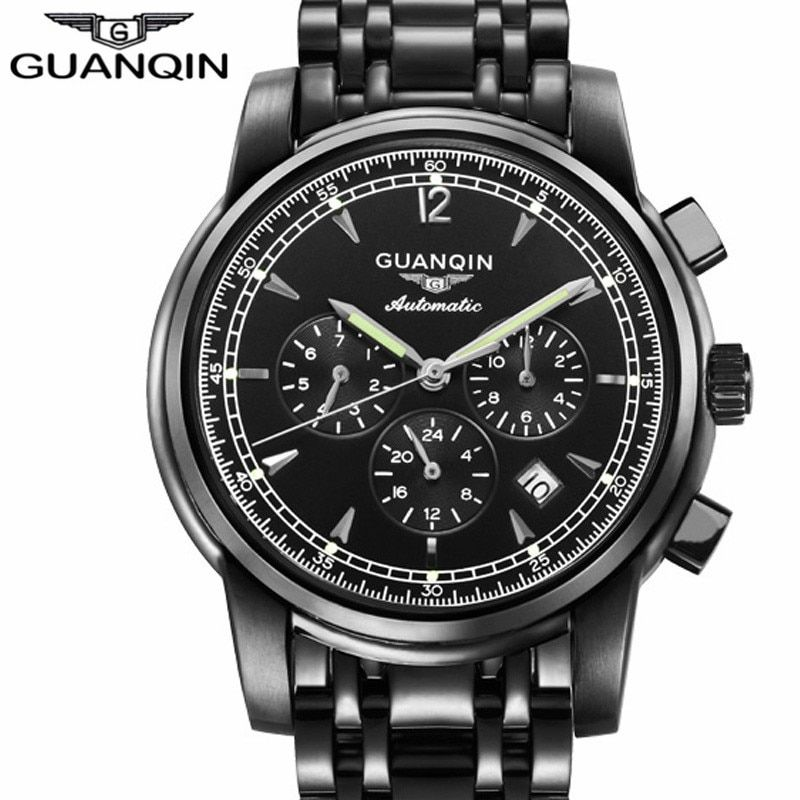 GUANQIN Mechanical Watch Men Luxury Business Automatic Date Luminous Clock Silver Steel Mens Watches Relogio Masculino 2017