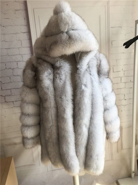 Hot sell Warm Real Fox Fur Coat with hood for women Natural Blue Fox Fur Overcoat hooded