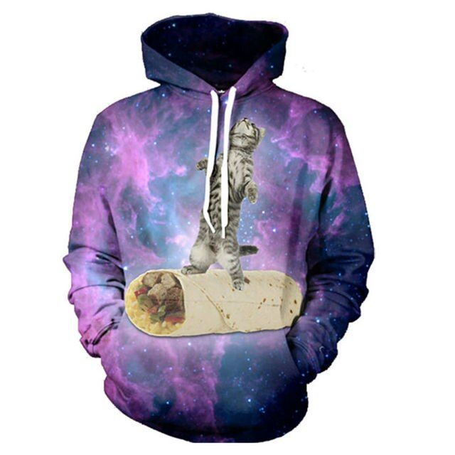 New Arrival Women Hoodies Cat Meat Rolls Galaxy Space Pattern 3D Print Hoody Harajuku Sweatshirt Hooded Pullover For Lady