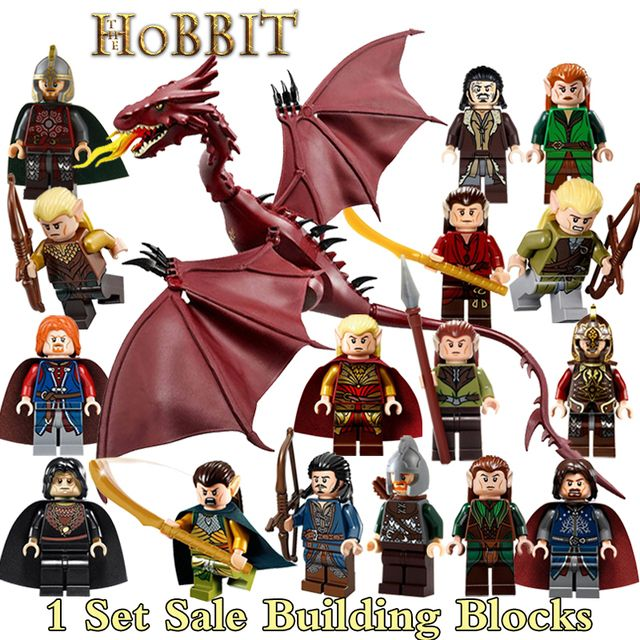 Building Blocks 17pcs/set Aragorn The Hobbit: The Desolation of Smaug Dragon Lord of the Rings diy figures Model DIY Kids Toys
