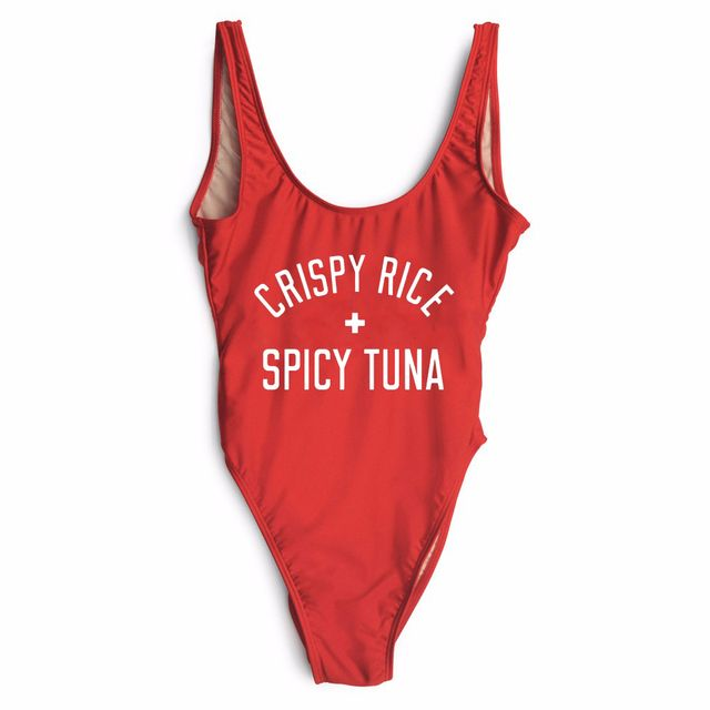 women sexy CRISPY RICE + SPICY TUNA bodysuit beachwear Sleeveless Bodycon bathing suits one pieces Jumpsuits Rompers high cut