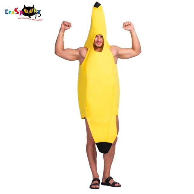 Men Yellow Banana Fruit Costume Carnival Party Adult Male Outfits Fancy Dress Unisex Jumpsuits Rompers Halloween Costumes