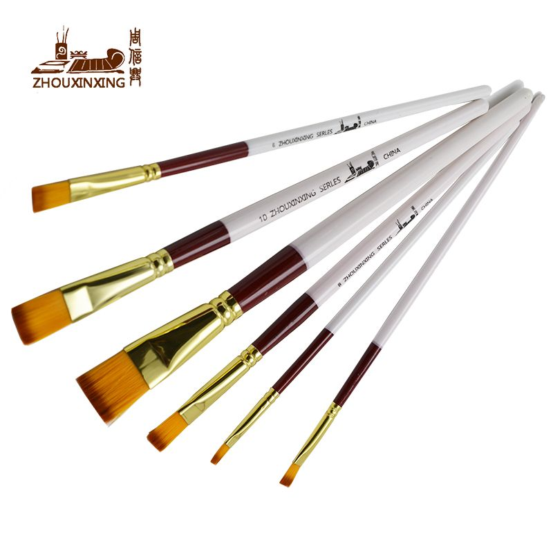 6pcs/Set,Painting Brush Oil Paint Nylon hair White bar Water Color Painting Brush Acrylics Art for Supplies Stationery