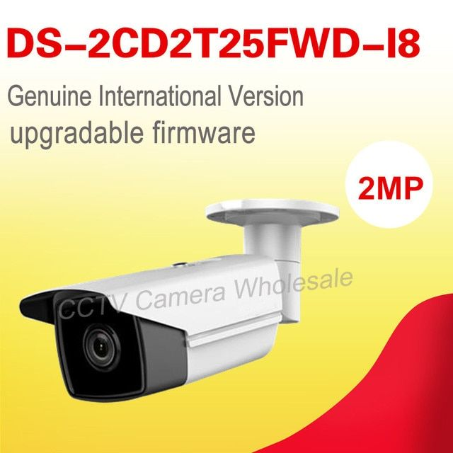 Free shipping English version DS-2CD2T25FWD-I8 2MP Network Ultra-Low Light Bullet IP camera POE sd card, 80m IR , H.165+
