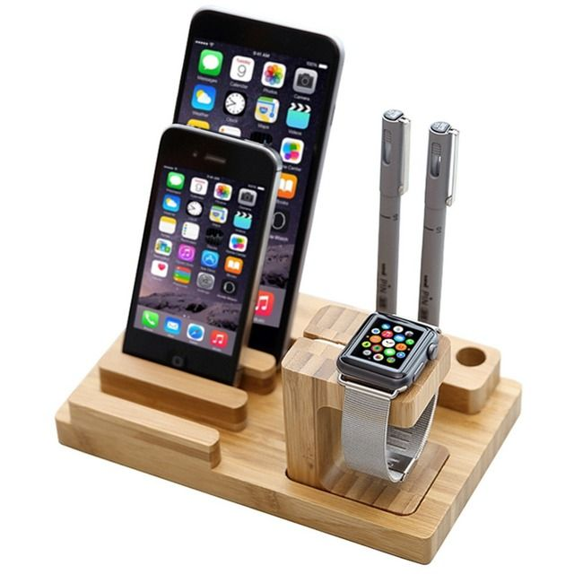 Multi-function Watch Pen Cell phone Holder Natural Bamboo Wood Charge Station Charging