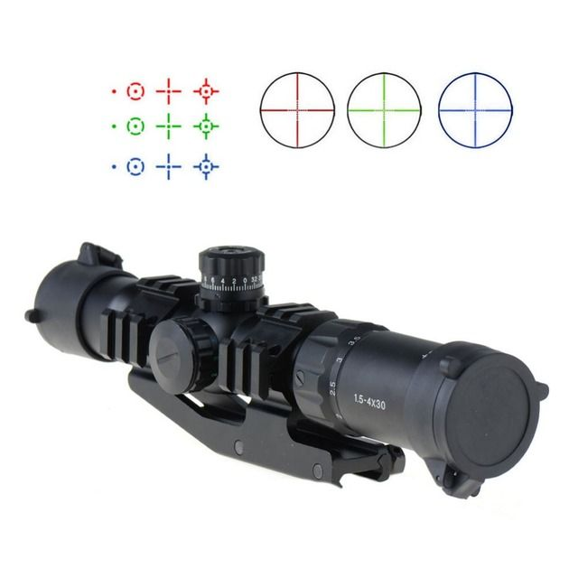 1.5-4X30 Tactical Rifle Scope w/ RGB illuminated Horseshoe Reticle w/ Mount VEG47 P20