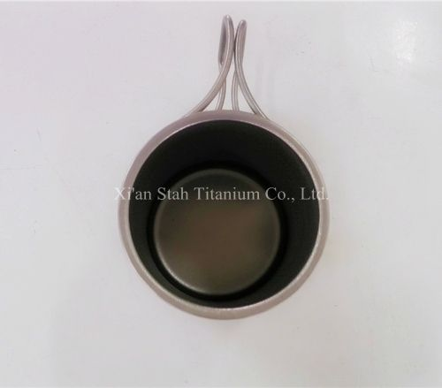 Pure Titanium Double Wall Cup 80mm*90mm Volume 350ml Light Weight 95g/pc with Folding Handle