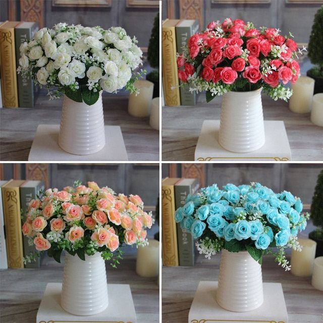 Hot Pretty Charming Delightful 15 Buds 1 Bouquet Mini Rose Artificial Silk Flower Bridal Home Decal