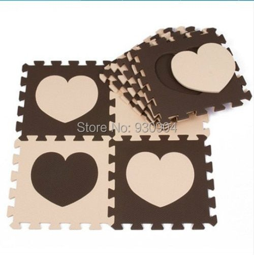 30*30cm 10pcs Set Beige&Coffee LOVE FOAM MATS Puzzle Carpet Baby Play Mat Floor Puzzle Mat EVA Speelmat Foam Baby Play mat