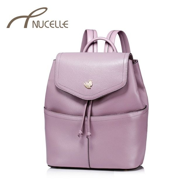 NUCELLE Women Genuine Leather Backpack Female Fashion Real Leather Daily Brief Double Shoulder Bag Ladies Travel Rucksack NZ4910
