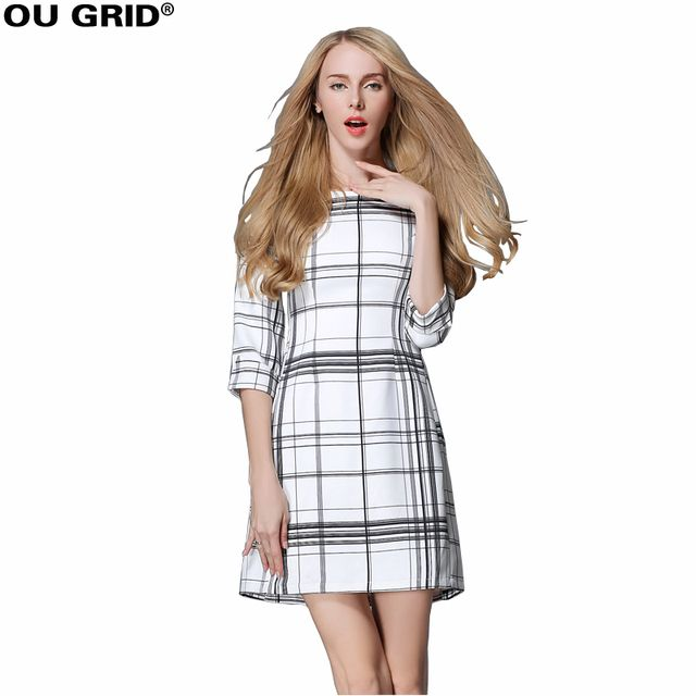 Women Spring Dresses Black White Plaid For Large Size Women Three Quarter Sleeve O-neck Casual Slim Dresses