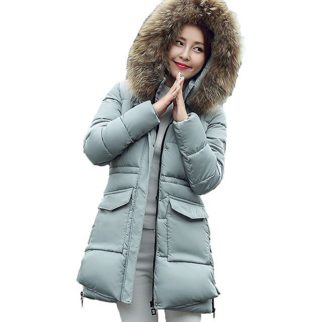 Winter jacket women 2016 new Korean military long section Nagymaros collar hooded down cotton jacket big yards outerwear parka