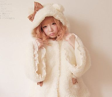 Princess sweet lolita coats BOBON21 animal pattern pretty lovely wolley coats with sheep and bear's ears/Lambswool inside TS03