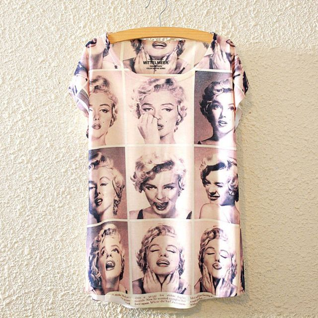 Marilyn Monroe Shirt 2016 Summer Tops T Shirt Femme Tee O-Neck Korean Fashion T-Shirt Women Tshirt Print 3D Short Sleeve S2264