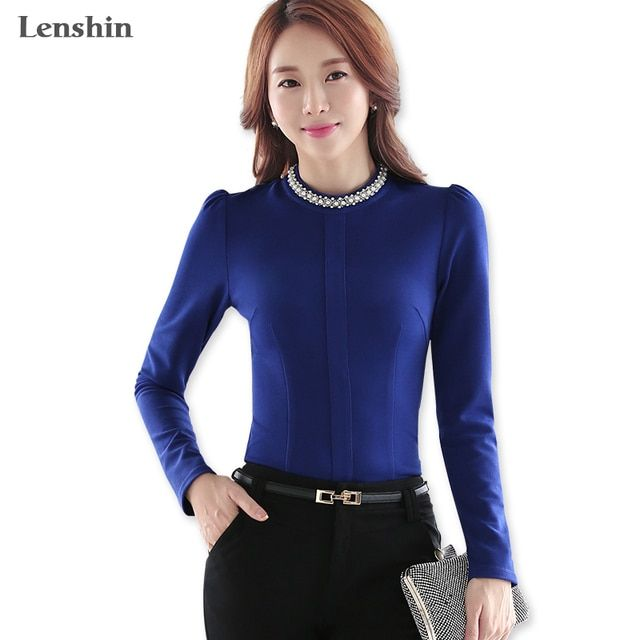 Elastic Fabric Navy Blue Thick Women Blouse Shirt Female Casual Style Fake Pearl O-Neck Collar Elegant Fashion Back Zipper Top