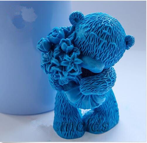 Teddy with Flowers 3d  silicone mold for soap and candles making baby  mould  Diy Craft Molds