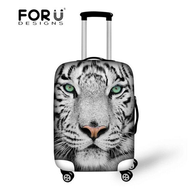 White Tiger Prints Luggage Protective Covers Apple to 18-30Inch Trolley Suitcase Waterproof Elastic Stretch Fabric Luggage Cover