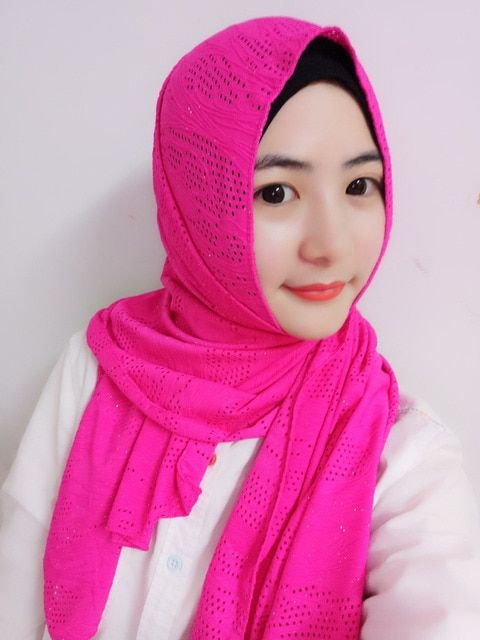 H1088a new style muslim long scarf with holes and glitters,free shipping