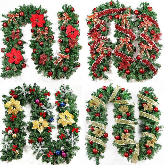 2018 New Green Christmas Garland Wreath Xmas Home Party Christmas Decoration Pine Tree Rattan Hanging Ornaments 270cm