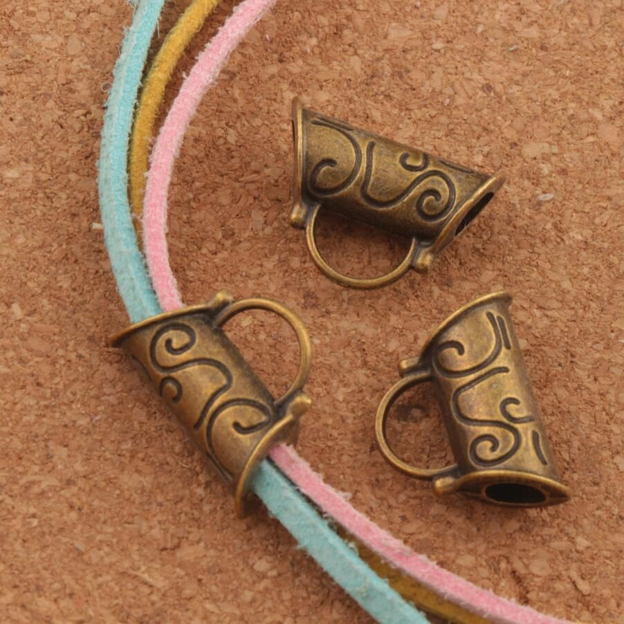 Flower Swirl Tube Bails Beads Fit Charm European Bracelet L296 14pcs Antique Bronze