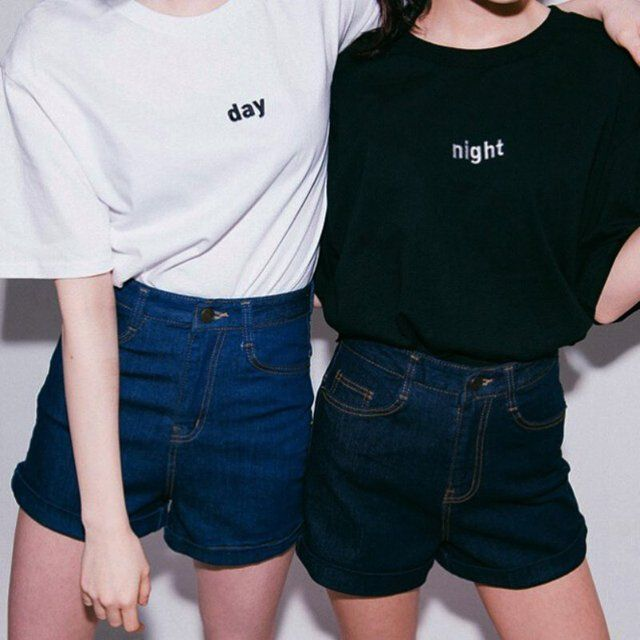 2017 Summer Women T shirt Harajuku Style Day Night Embroidery Female T-shirt Short Sleeved Tops White Black Color