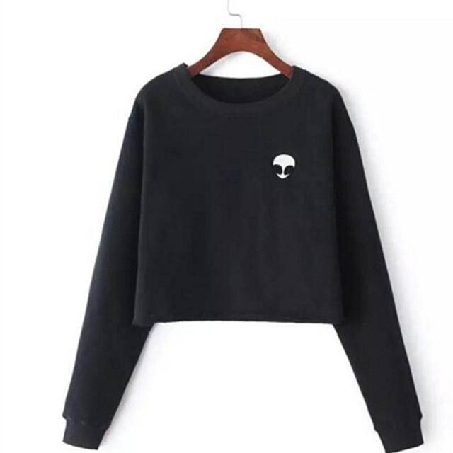 ET Aliens Printing Hoodies Sweatshirts harajuku Crew neck Sweats Women Clothing Feminina Loose Short Fleece Jumper Sweats