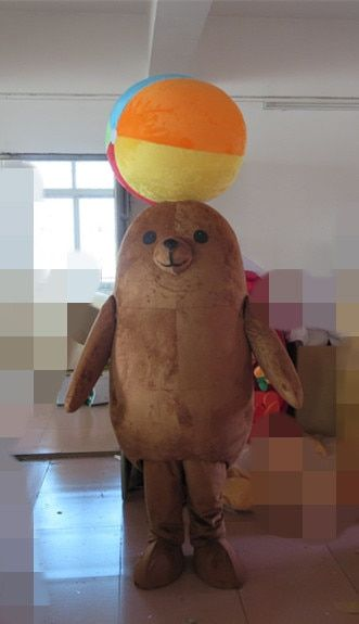 100% real photos brown sea lion mascot costume for adults sea lion costume